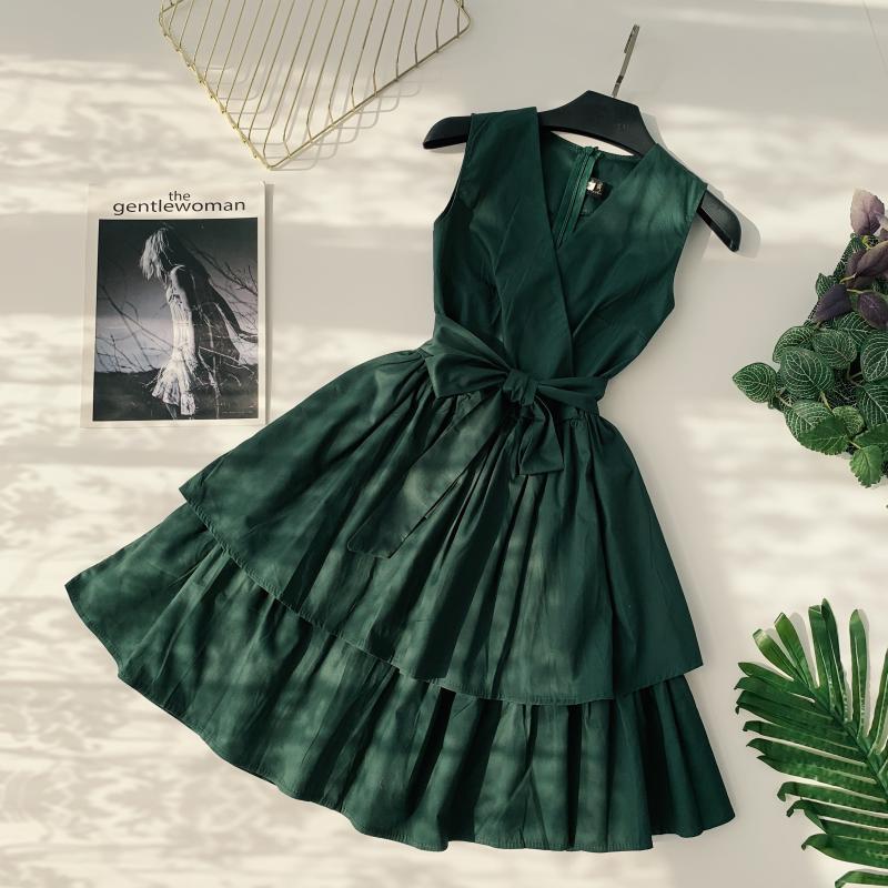 Korean Vintage Pure V Collar Sleeveless High Waist Bow Tie Double Ruffle Holiday Dress Women Vestidos E348 71
