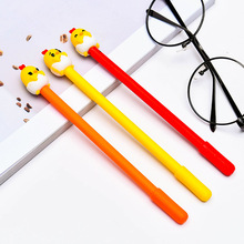 36pcs/lot Cute Kawaii Stationery Black Ink Chicken Gel Pen 0.5mm Cartoon Plastic Gel Pens for Writing Office Supplies стоимость