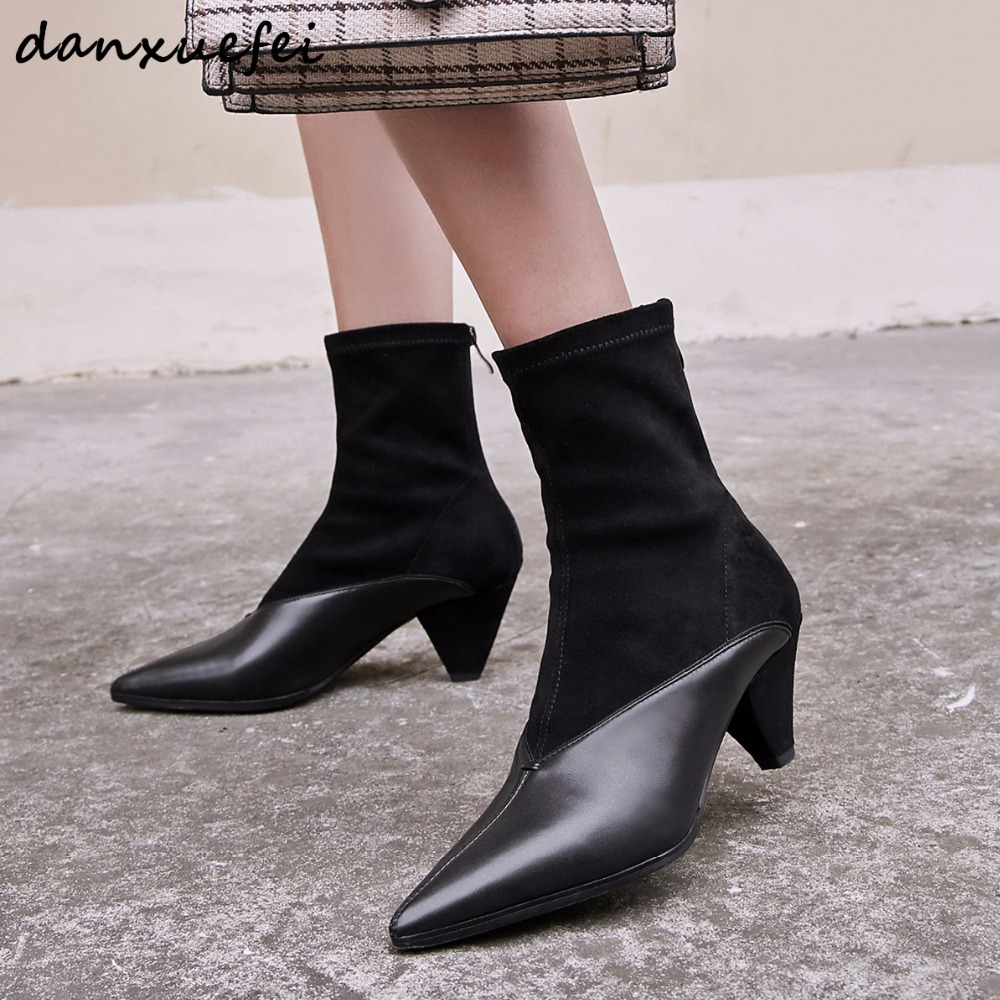 Womens genuine leather kitten heel pointed toe autumn ankle boots brand designer elegant ladies comfortable med heel boots shoeWomens genuine leather kitten heel pointed toe autumn ankle boots brand designer elegant ladies comfortable med heel boots shoe