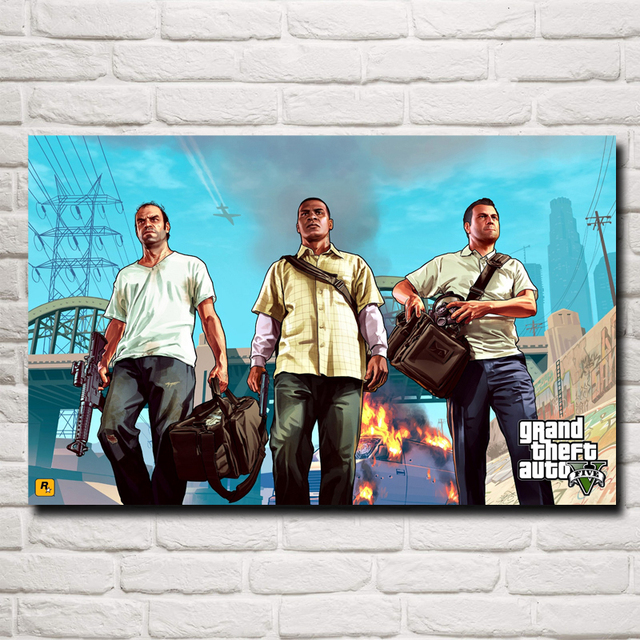 Grand Theft Auto Game Art Silk Fabric Poster Prints Home Wall Decor Painting 12×19 15×24 19×30 22×35 Inches Free Shipping