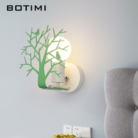 BOTIMI 2018 LED Wall Lights For Deco White Wall Mounted Bedside Lighting Green Reading Wall Sconce Wooden Wall Lamp E27 Luminare