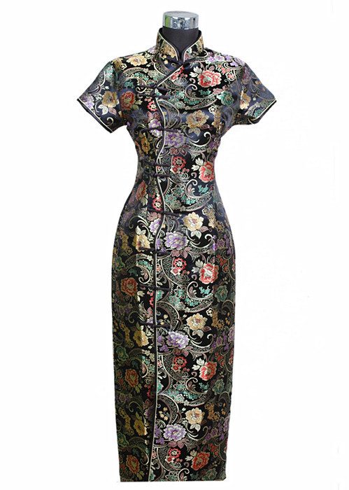 Satin Long Cheongsam Qipao Vêtements Fleur S M L XL XXL XXXL J0024 Noir Chinois Robe Traditionnelle Mujer Robe Nouvelles Femmes