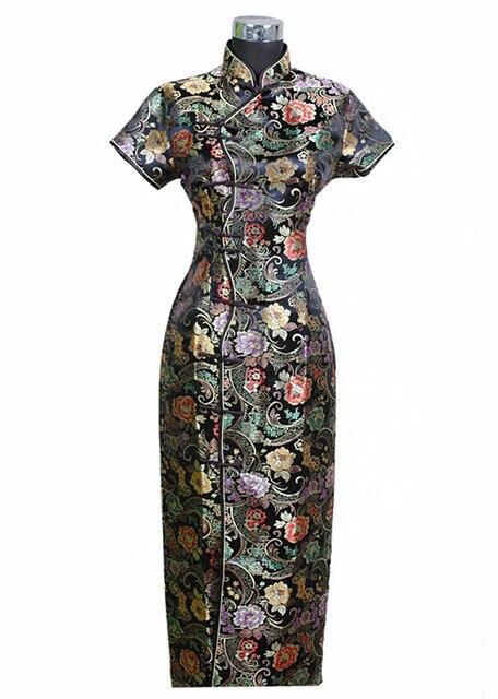 Black Traditional Chinese Dress Mujer Vestido New Women's Satin Long Cheongsam Qipao Clothings Flower S M L XL XXL XXXL J0024