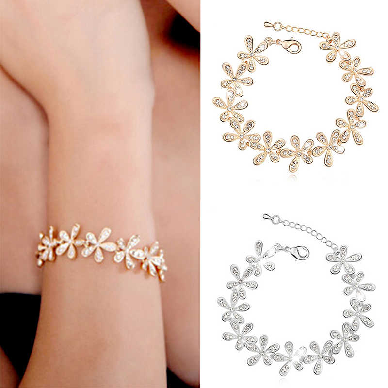 De Femmes neige Mode Fashion Bracelet Or Argent Bijoux Bangle Flocon