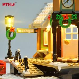 Image 5 - Набор светодиодсветильник ильников MTELE для зимней деревенской станции, набор светильников, совместимый с серии Creator 10259 (модель в комплект не входит)