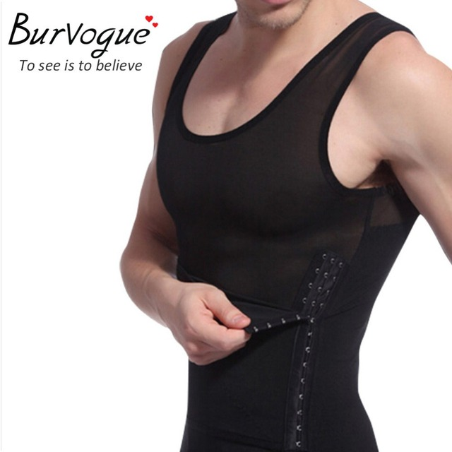 Burvogue Hot Shaper Men Body Shaper Vest Waist Cincher and Tummy Control Slimming Belly Shaper Underwear Girdles Shapewear