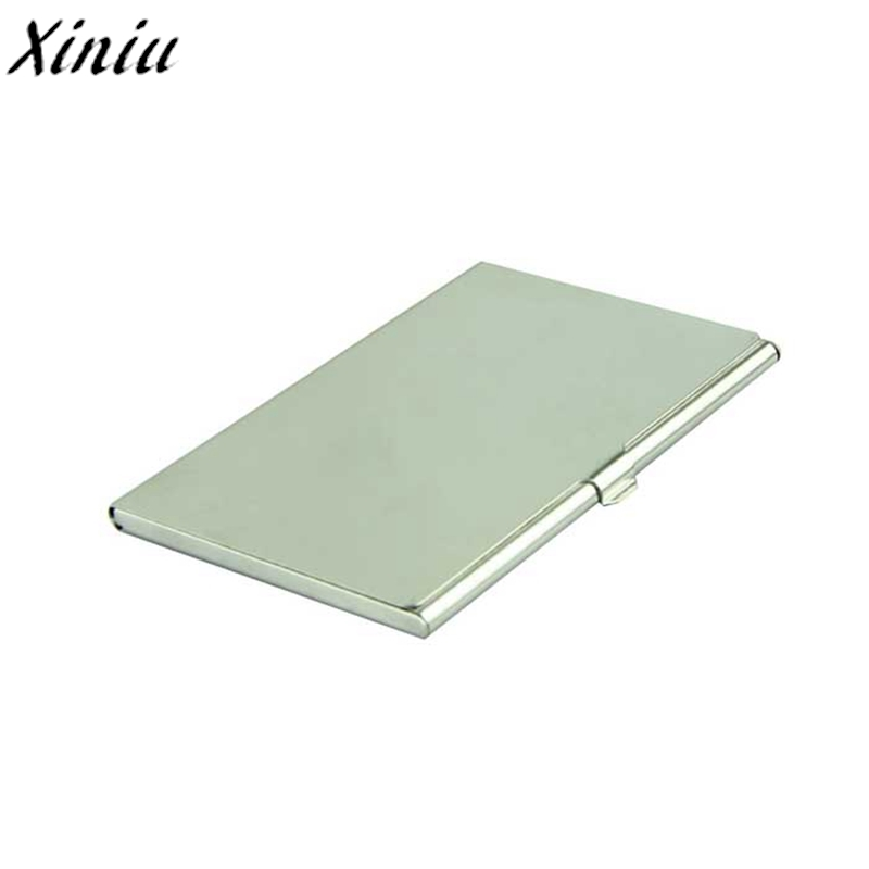 Business Card Holder Silver Credit Card Holder Flip Style name card holder High Quality Card Case New tarjetero metal #7914 mini code case style name card holder box silver