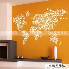 Large New Design Coffee Shop Pattern Creative World Map Wall Stickers World Map Wall Decals Circles Dot Sticker Decal creative coffee bean world map pattern square shape flax pillowcase without pillow inner
