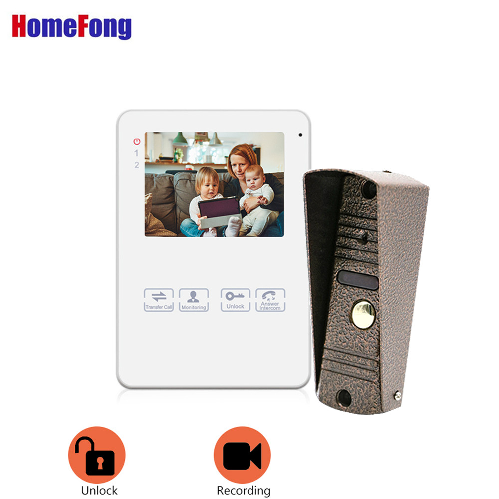 Homefong  Video Door Bell With Monitor Recording 4 Inch Video Door Phone Intercom System Black White Unlock Picture Touch Button