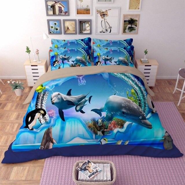 The Underwater World Bedding Set Blue ocean Painting 3D ...