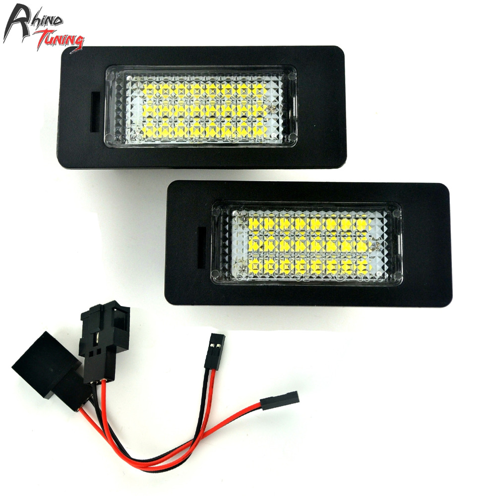 Rhino Tuning 2PC LED Light Car License Number Plate Light For Passat R36 A1 A4 A7 TTRS RS5 Car License Plate Light 119
