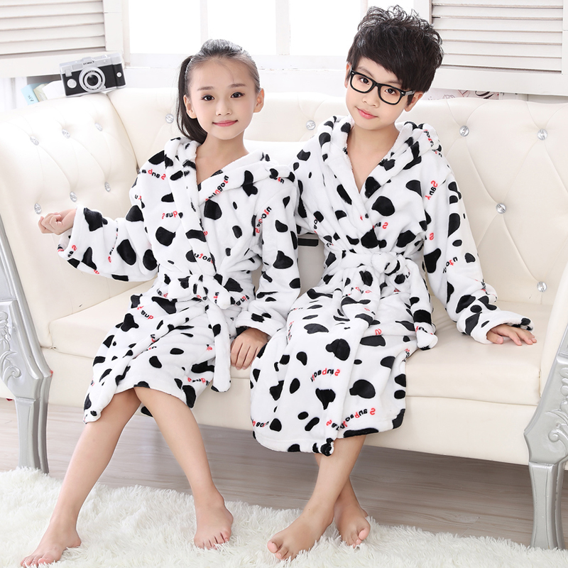 New Arrival Children Bath Robe Soft Kids Sleepwear Flannel White Cow Bathrobes Leopard Pajamas Bathgrowns for Teenage 3-14 Year