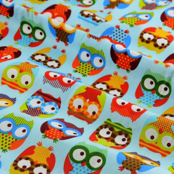 Booksew 1 meter blue cute owl printed cotton fabric for Childrens fabric