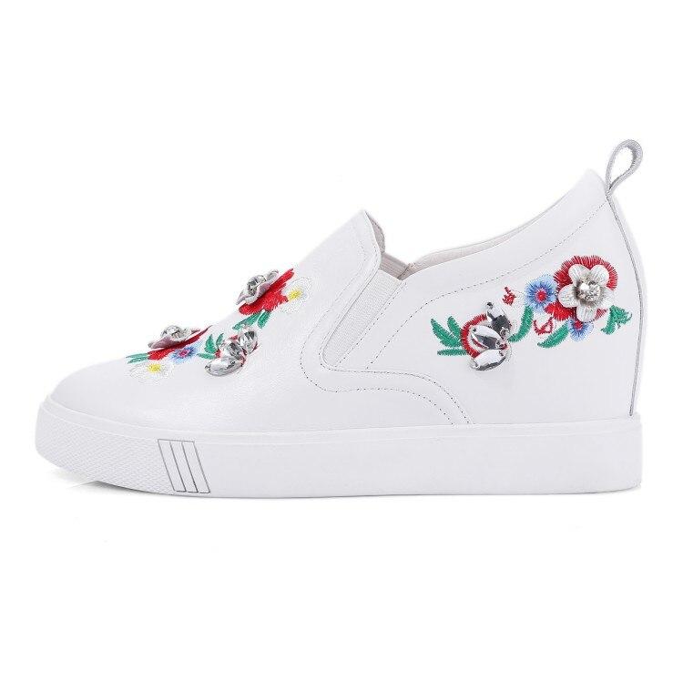 Rouge De Croissante Cuir 2018 Black Floral red Sneakers Mljuese Vache Broder En Talons Pompes Couleur Femmes white Respirant Haute Mode nv1qwX8C