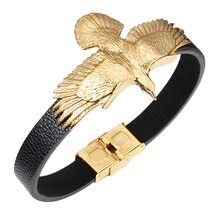 Fashion Braided Genuine Leather Bracelet Wristband Stainless Steel Eagle Pattern Charm Bracelets Men Women Luxury Jewelry
