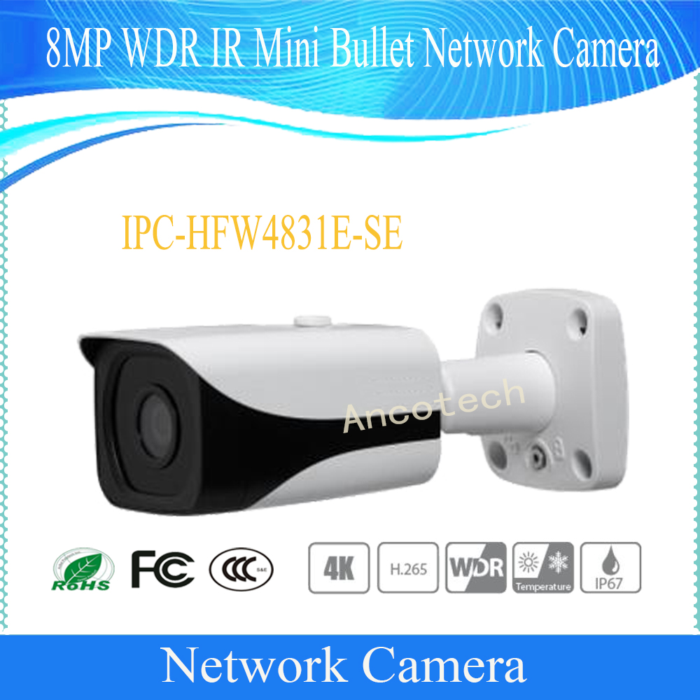цена на Free Shipping DAHUA CCTV Camera 4K 8MP WDR IR Mini Bullet Network Camera IP67 With POE Without Logo IPC-HFW4831E-SE