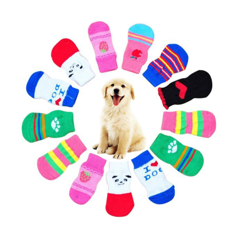 4Pcs Cute Puppy Dogs Pet Knits Socks Anti Slip Skid Bottom Warm Cartoon Funny Socks For Small Dogs Pet Products Acessories #Y