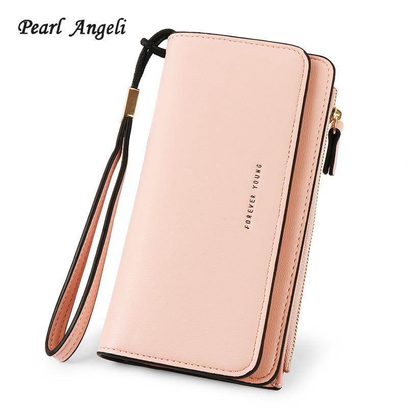 De Angeli estilo largo las mujeres PU bolso de cartera de cuero de mujer con cremallera bolsa de gran capacidad embrague cartera femenina