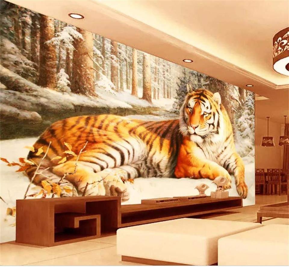 3d wallpaper photo wallpaper custom living room mural tiger forest snow paining picture 3d wall mural wallpaper for walls 3d все цены