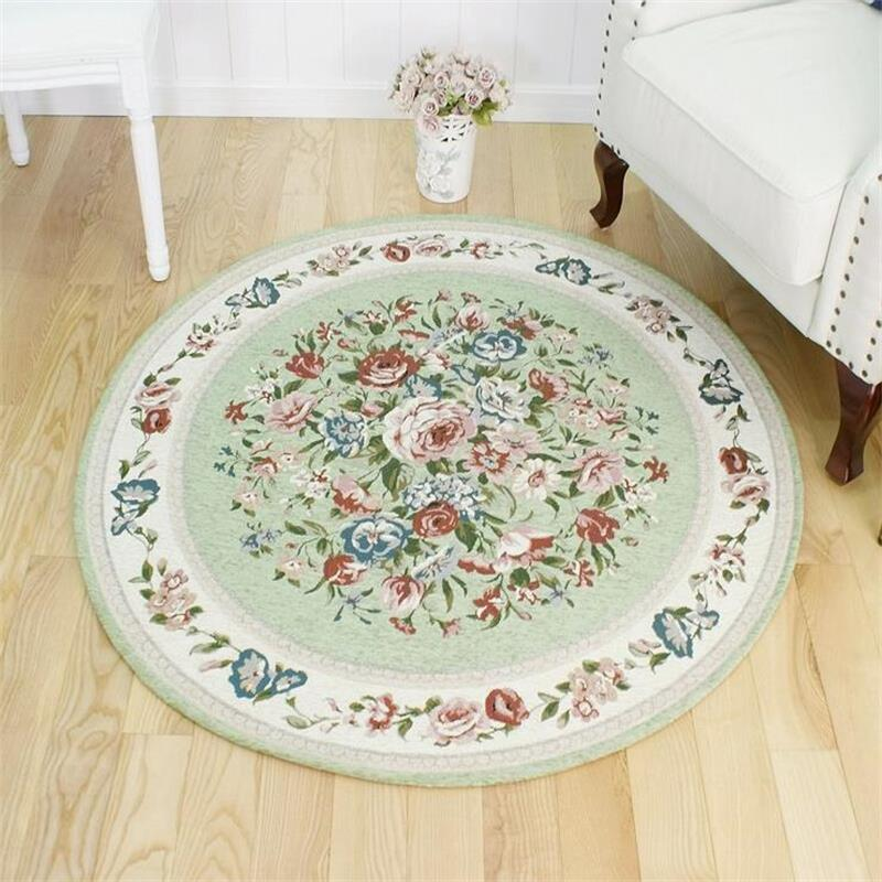 Round European Pastoral Carpets For Living Room Home Entrance Hallway Doormat Computer Chair Area Rug Exercise