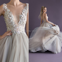 Romantic Deep V Backless with hand Flower/Beads Paolo Sebastian Ball Gown Wedding Dresses 2014