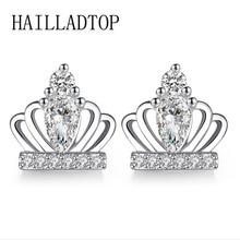 Korean Style Sweet Princess Crown Earrings CZ Zircon Stud Women Piercing Jewelry Silver Color Christmas bijoux