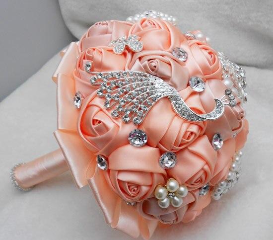 2017 Люкс Для Невесты Свадебный Букет Дешевые Кристалл Шампанское Стразы Ручной Искусственный Цветок Свадебные Букеты