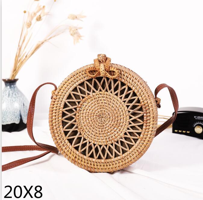 Woven Rattan Bag Round Straw Shoulder Bag Small Beach HandBags Women Summer Hollow Handmade Messenger Crossbody Bags 20