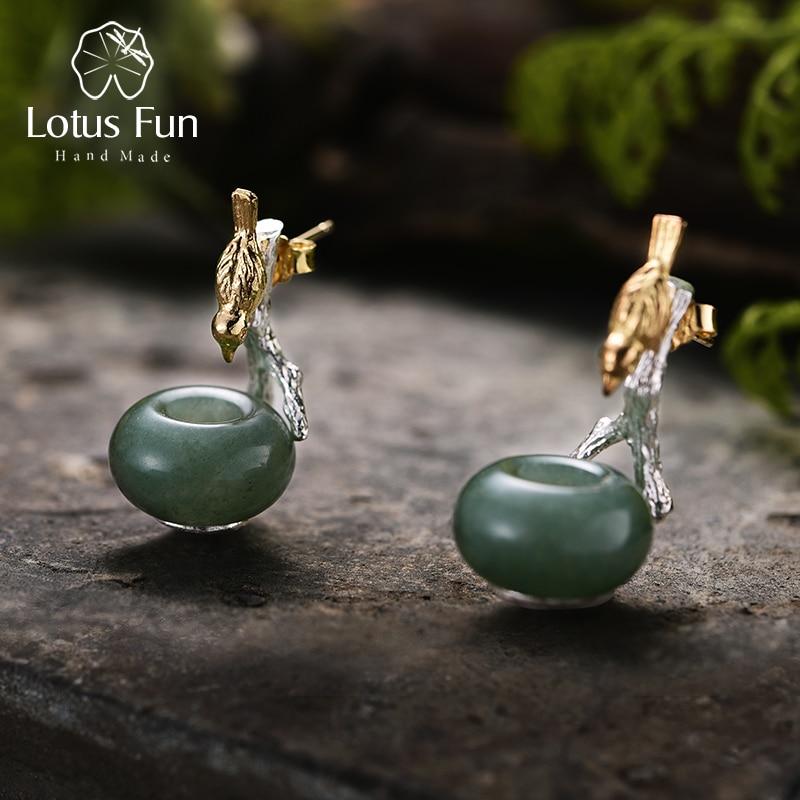 Lotus Fun 925 boucles d'oreilles en argent Sterling pour femmes pierre naturelle ronde verte Aventurine Animal oiseau fait main bijoux cadeaux