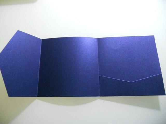 Blank Navy Blue Pocket Fold Wedding Invitations With Envelopes Top