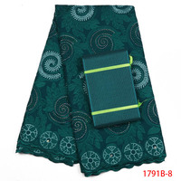 Latest Green African Lace Fabric 2018 cotton Swiss Voile Dry Lace Fabric High Quality Swiss Lace Material Add Aso Oke AMY1791B 2