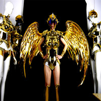KS30 Ballroom dance led costume supply party stage show wears catwalk perform mirror dress clothe gold armor wings dj robot suit