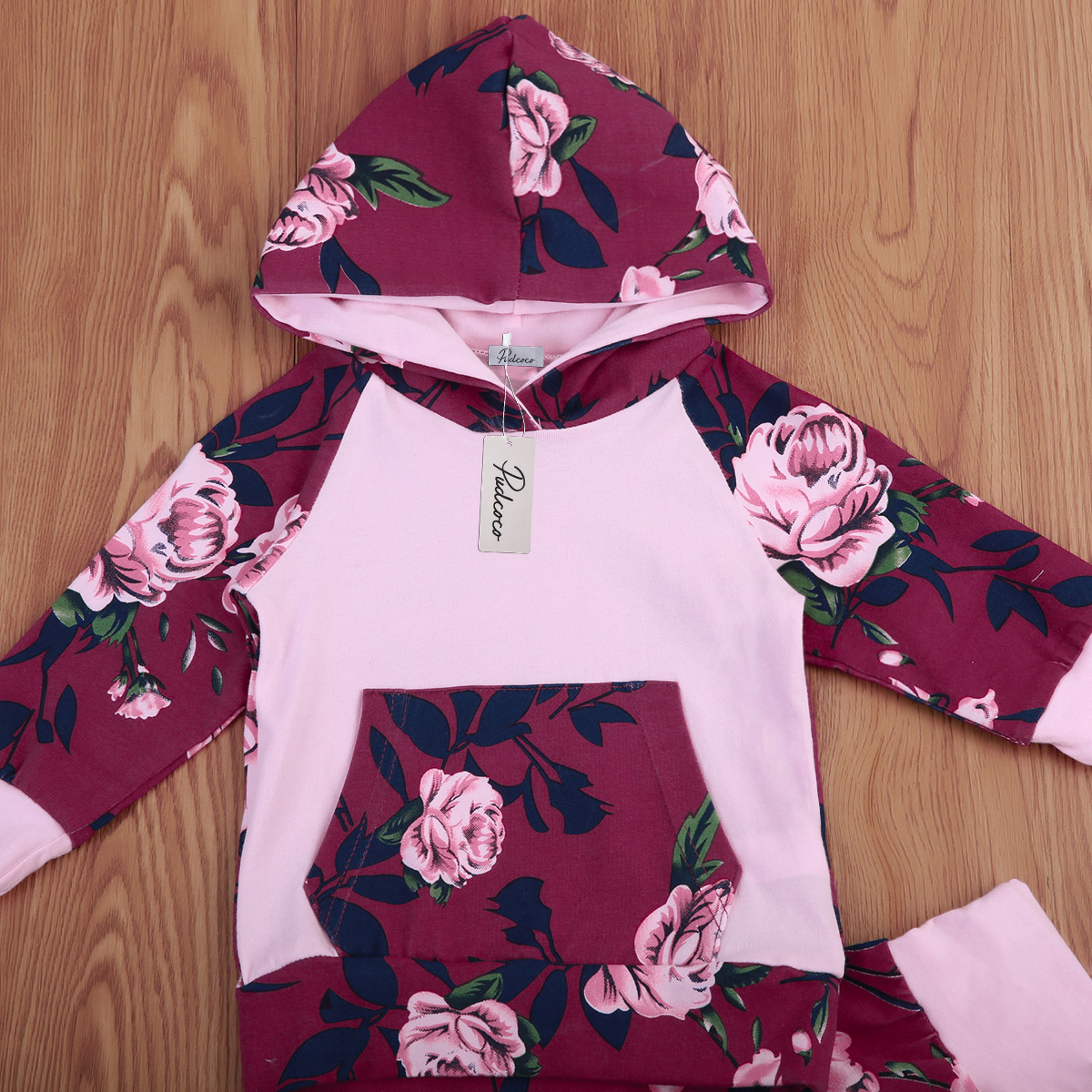 2Pcs Flower Baby Clothing Newborn Baby Girl Floral Hooded Sweatshirt Tops Pants Baby Girl Home Outfit Clothes Set 0-12M