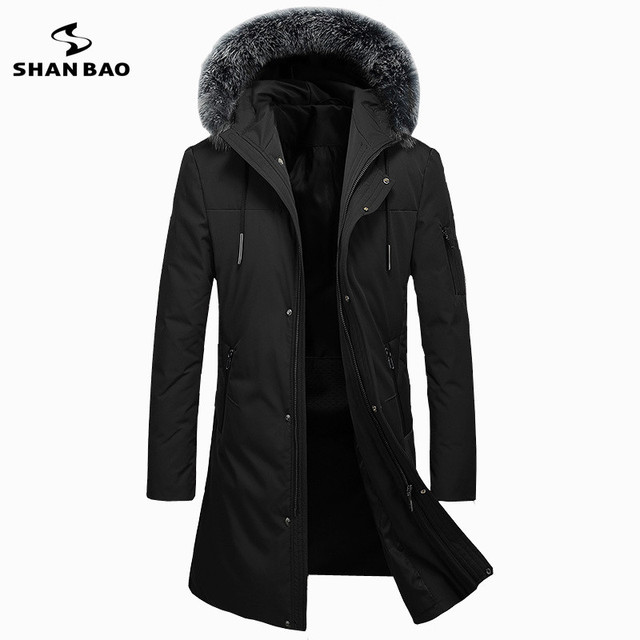 2019 winter thickening warm luxury fox fur long down jacket high quality brand casual men's hooded down parka black green