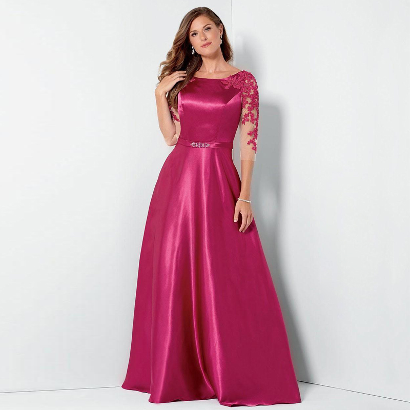 US $98.68 10% OFF|Fuchsia Long Cheap Evening Dresses Half sleeve A line  Satin Plus size Mother of the bride Dress Appliques Women Party gowns-in ...