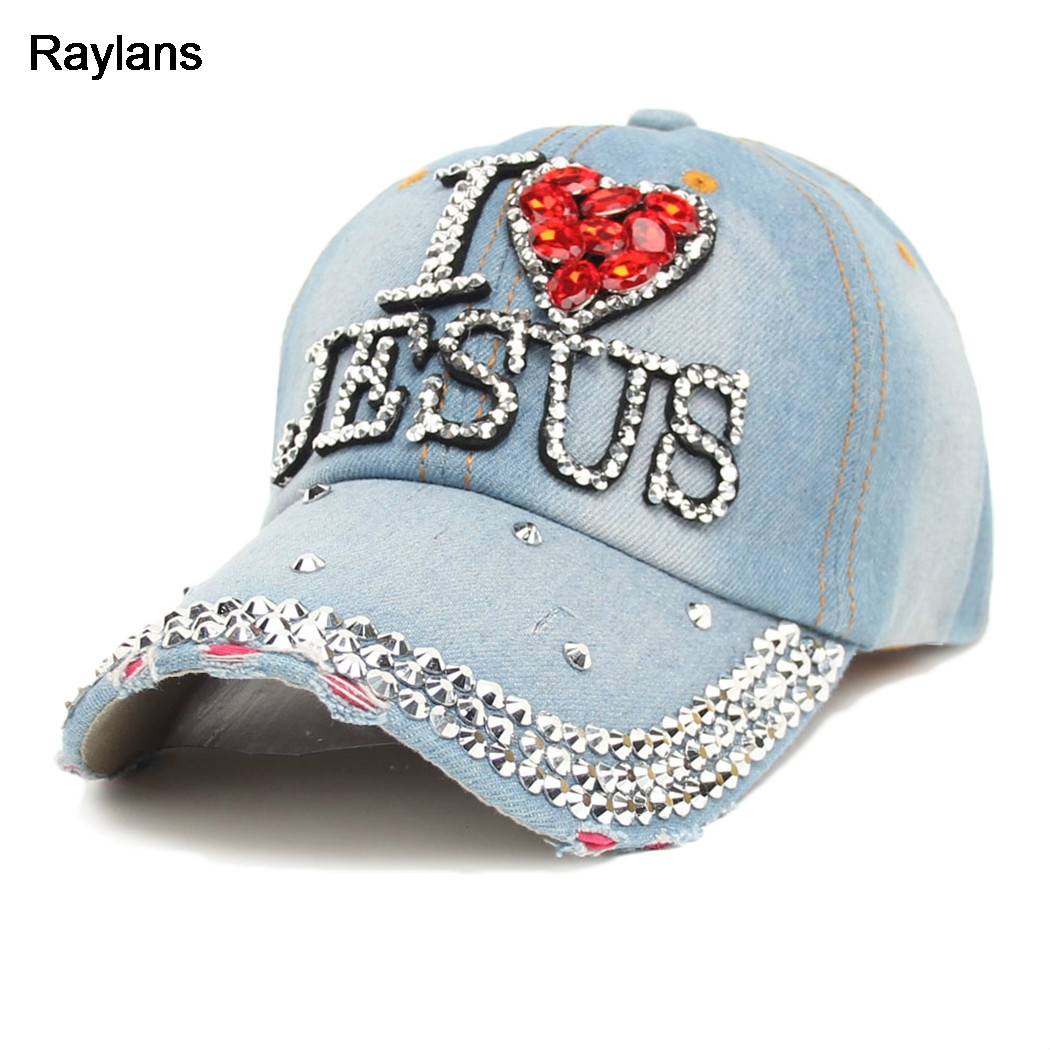 cb2c2c9c79d Raylans Women Adjustable Bling Studded Rhinestone I LOVE JESUS Denim Baseball  Cap Hat