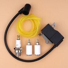 Ignition Coil Spark Plug Fuel Filter Line Kit For HUSQVARNA 125E 125C 125L 125R 125RJ 128R 128LD 128C 128CD Trimmer Brushcutter