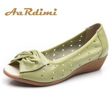 AARDIMI Summer Sandals Women Wedges Shoes Genuine Leather Bowtie Casual Flat Sandals Woman Peep-toe Zapatos Mujer Big Size 35-43 plus size 35 43 2018 summer women shoes woman open toe genuine leather wedges sandals casual platform sandals women sandals