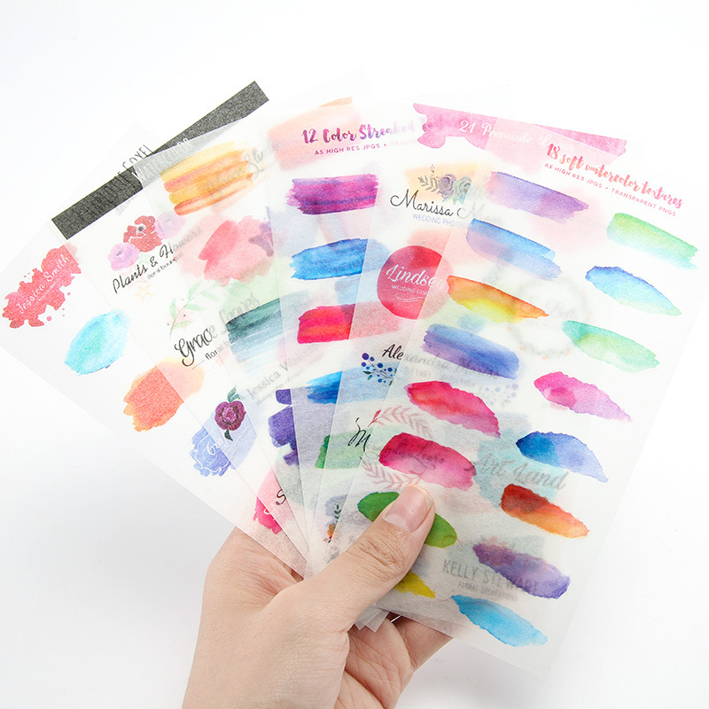 6 Pcs/pack Watercolor Graffiti Decorative Stickers Adhesive Stickers DIY Decoration Diary Stationery Stickers Children Gift