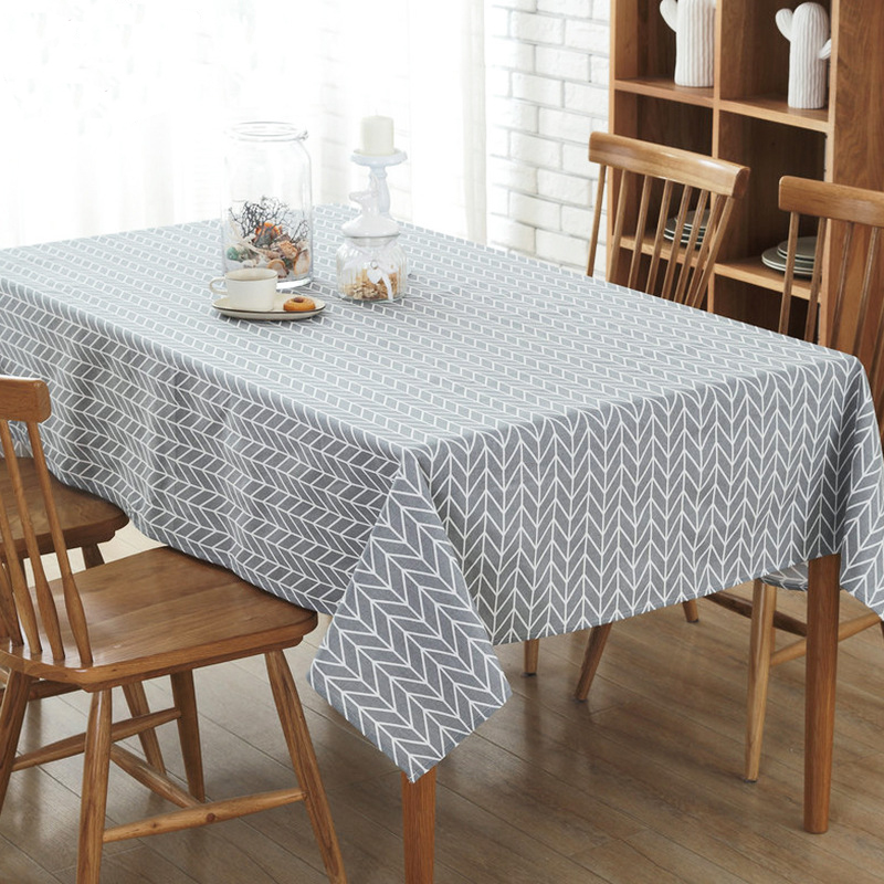 Simanfei Europe Tablecloth Stripe Dot line Cotton and linen Table Cover Rectangular Elegant Home Party Wedding Decoration