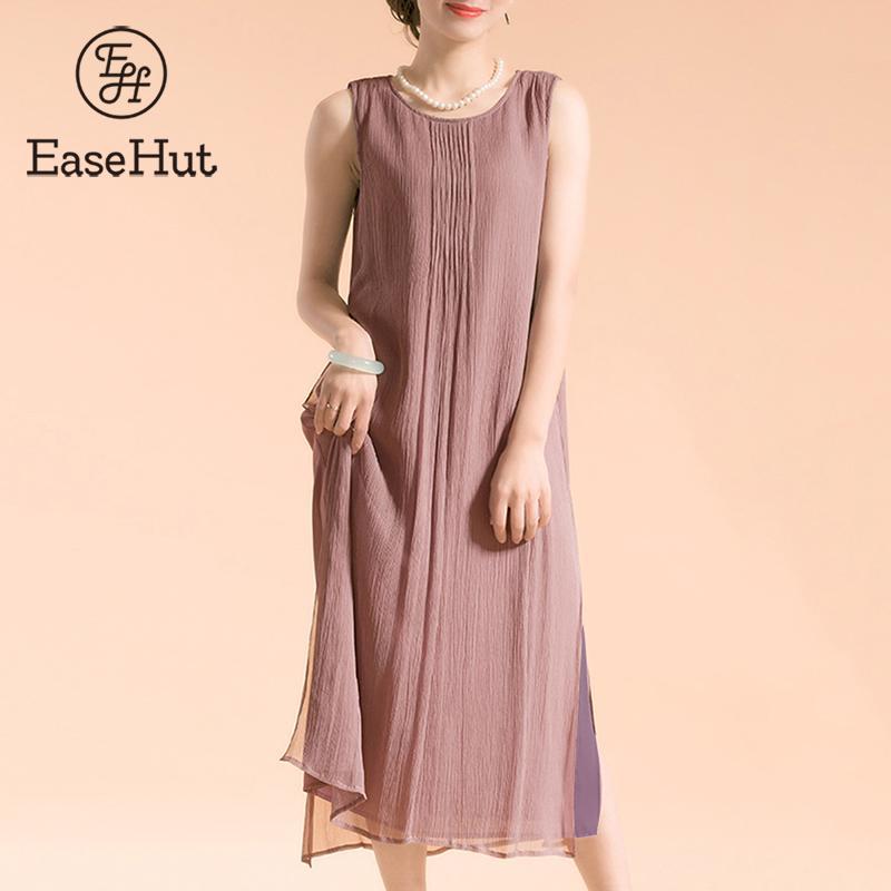 EaseHut Plus Size Dress Women Vintage Sleeveless Cotton Women\'s Summer  Dress Lined Casual Loose Long Dress 5XL Boho Maxi Dresses