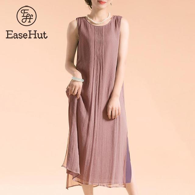 7061d0649fa4b6 EaseHut Plus Size Dress Women Vintage Sleeveless Cotton Women s Summer Dress  Lined Casual Loose Long Dress 5XL Boho Maxi Dresses
