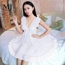 183924e5f1 MaiJee 3XL Sexy Lingerie Gecelik Sleepwear Nightgown Nightwear White Wedding  Night Dress Sleepshirts Nightgowns Pijamas Pyjamas