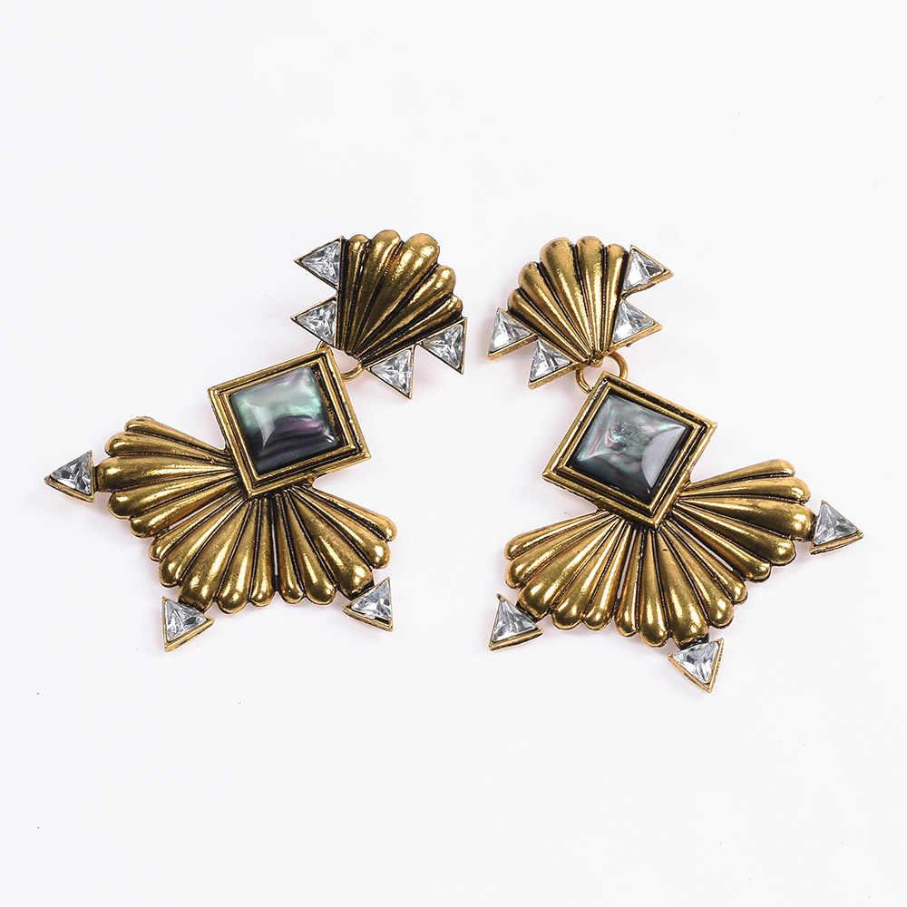 2019 New Za Earrings Women Jewelry Ancient Gold Silver Fan Shaped Metal Big Drop Earrings Female Vintage Statement Long Dangle