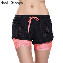 Women Orange Double Layer Sports Yoga Shorts