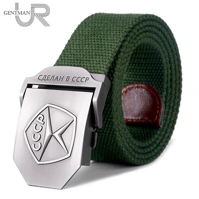 New Men & Women High Quality Belt 3D Soviet Quality Mark Canvas Military Belt Soviet Memory Luxury Jeans Tactical Belt