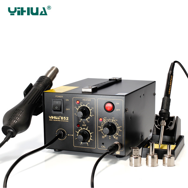 YIHUA 852 Brushless Fan Hot Air Heat Gun Soldering Station With Soldering Station yihua 852 brushless fan hot air heat gun soldering station with soldering station
