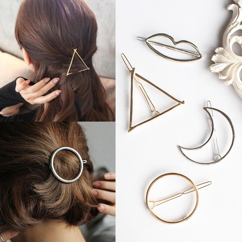 Fashion Geometric Mental Hairpins For Girls Triangle Moon Hair Pin Lip Round Star Hair Clip For Women Barrettes Hair Accessories