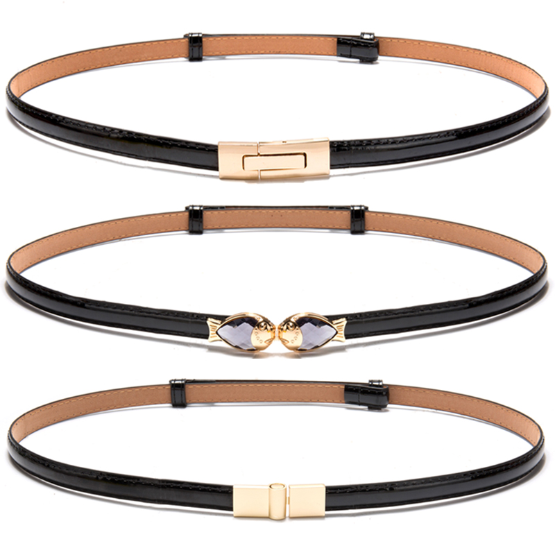 Hot New black Patent Leather strap   belts   girl adjust Woman Thin   Belt   Dress decorate Red fish gold buckle White   Belts   for Women
