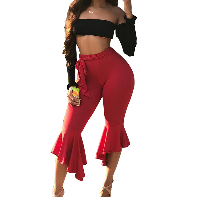 51c0363d48acf US $26.91 |Sexy Two Piece Set Top And Pants Strapless Crop Top and Bell  Bottom Ruffle Shorts Summer Sets Slim Sportswear Tracksuit Women-in Women's  ...